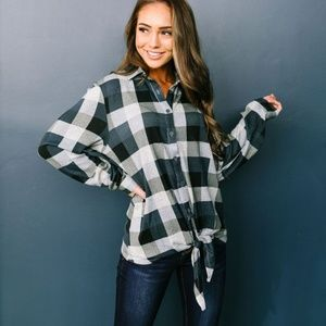 Checkered Past Button-Down Tie Front Top NTW
